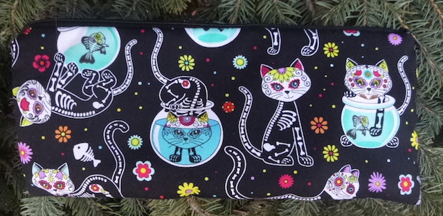 "Day of the Dead Cats pouch for 8"" knitting needles or flatware for travel, The Deep Sleek"