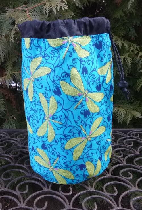 Dragonflies in the Garden SueBee Round Drawstring Bag