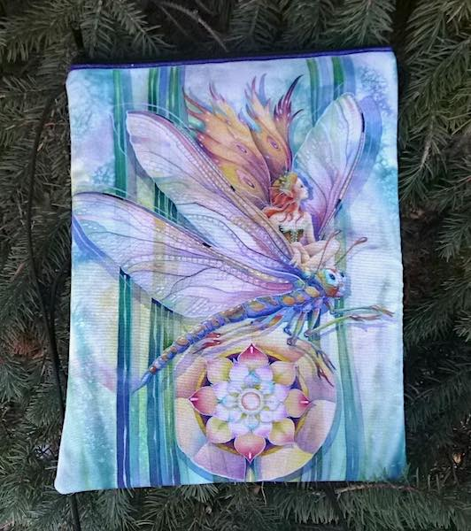 Dragonfly Fairy Dove purse on a string
