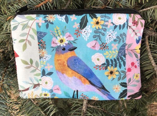 Floral Birds Goldie zippered bag