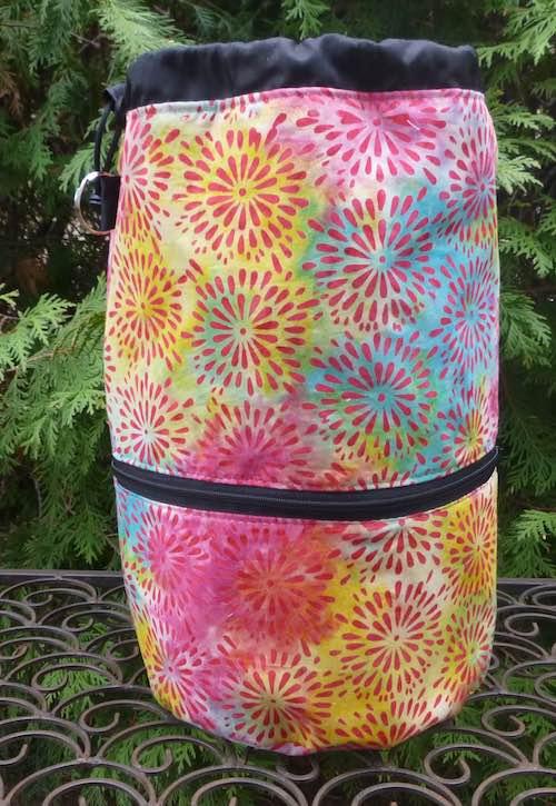 Flower Burst Batik knitting project bag, large Kipster