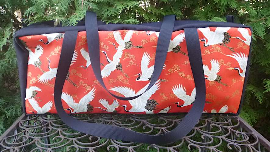 Flying Cranes on Red Mahjongg Storage Set The Zippered Tote-ster and Large Zini