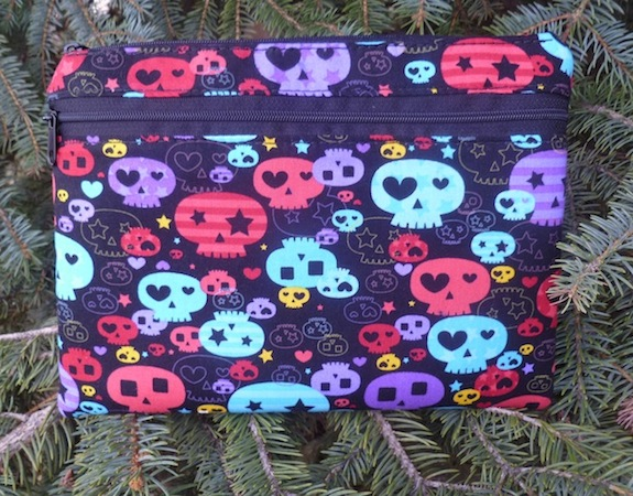 Colorful Girly Skulls Morning Glory convertible clutch wristlet or shoulder bag