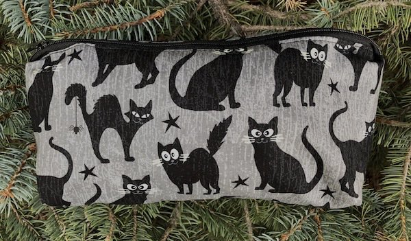 Black Cats with glow in the dark eyes flat bottom bag, The Zini
