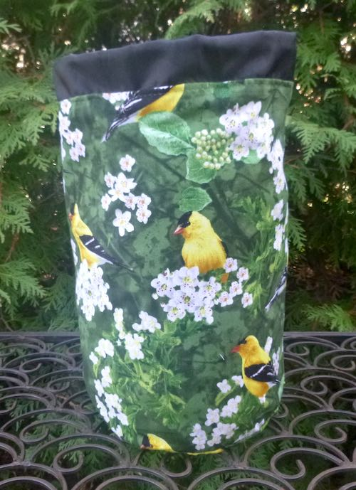 Goldfinches SueBee Round Drawstring Bag