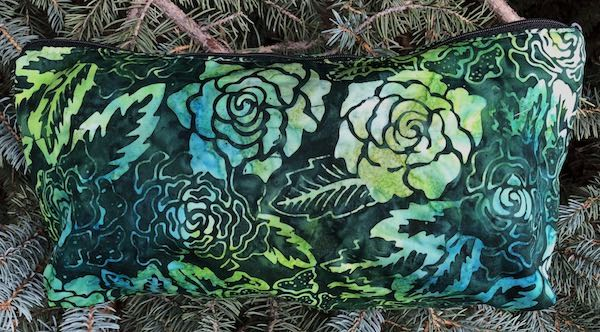 Green Batik Roses Large Zini Flat Bottom Bag