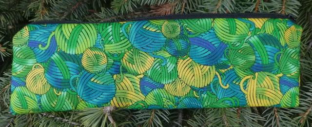 Green and Yellow Yarn zippered pouch for chopsticks, knitting needles or crochet hooks, The Sleek