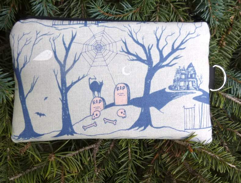 Haunted Graveyard Mini Wallet Purse Organizer, iPhone wallet, The Sweet Pea