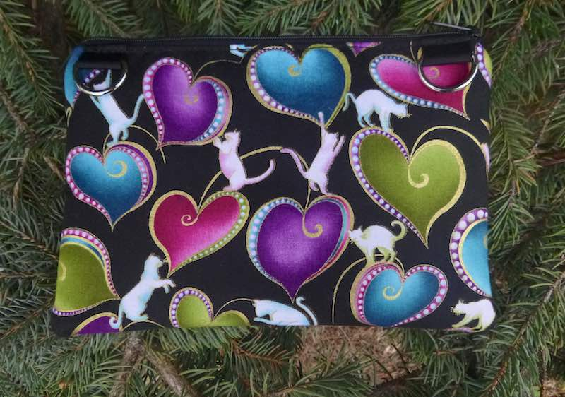 Hearts and Cats clutch, smart phone wallet, mini shoulder bag,  iPhone 8 Plus wallet, The Wisteria