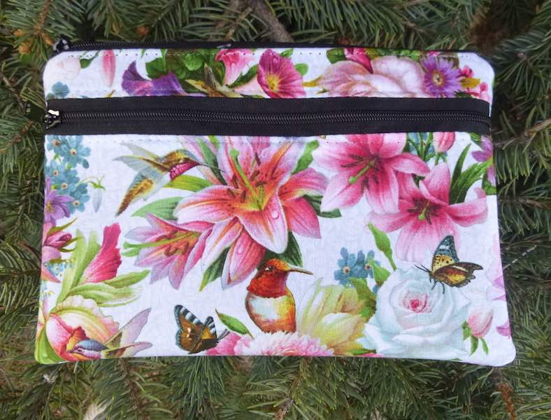 Hummingbird Bouquet clutch, smart phone wallet, mini shoulder bag, iPhone 6 wallet, The Wisteria