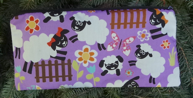 """Jumping Sheep pouch for 8"""" Knitting Needles, The Deep Sleek"""