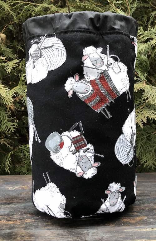 Knitting Sheep SueBee Round Drawstring Bag
