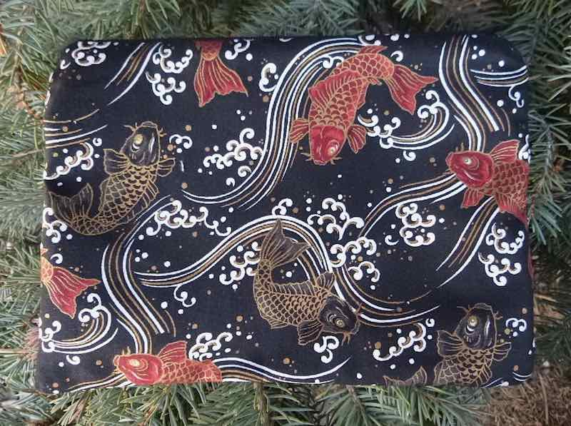 Koi and Waves on black zippered bag, The Scooter