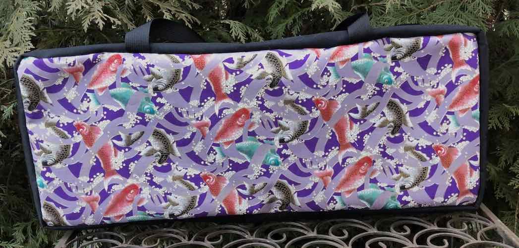 Koi on Purple Mahjongg Storage Set The Zippered Tote-ster and Large Zini