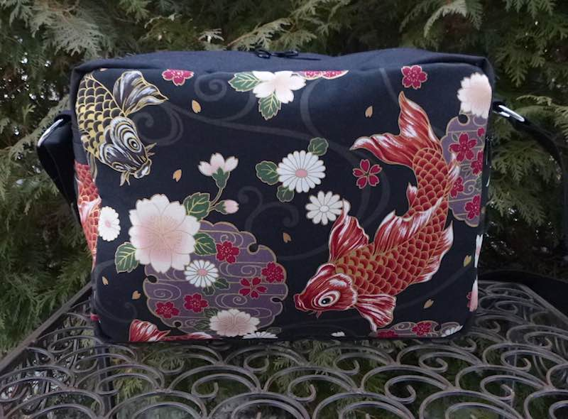 Koi on Black Tilly Shoulder Bag