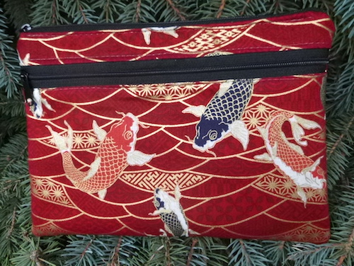Koi and Scallops on red Morning Glory convertible clutch wristlet or shoulder bag