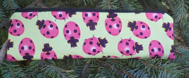 Ladybugs zippered pouch for chopsticks, knitting needles or crochet hooks, The Sleek