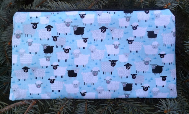 Little sheep on blue or pink Deep Scribe pen and pencil case