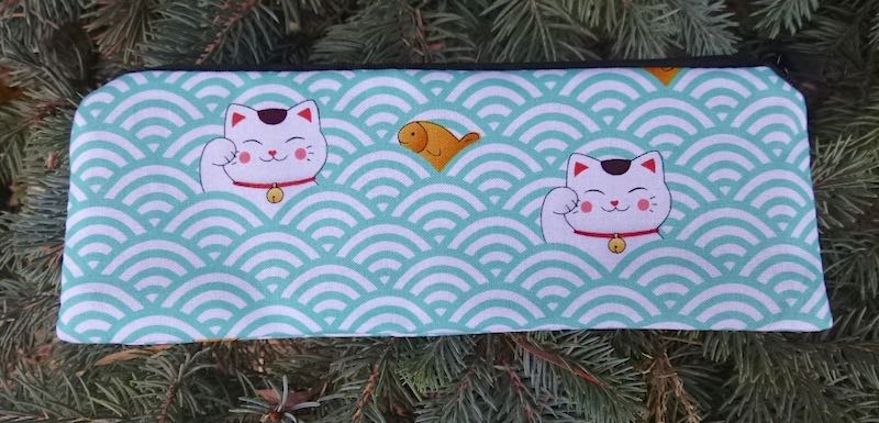 Lucky Cats and Waves pen and pencil case, crochet hook pouch, The Scribe