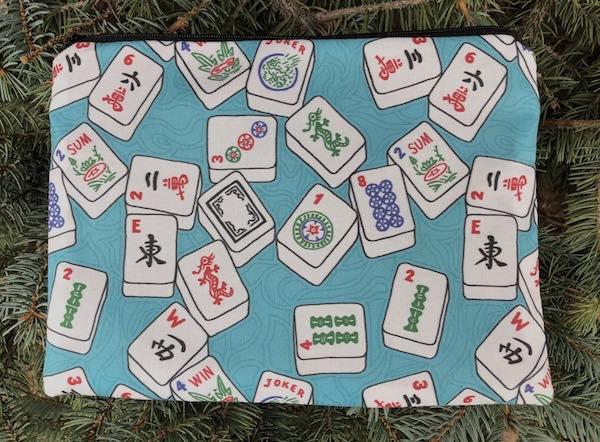 Mahjongg Tiles on blue Mahjongg card and coin purse, The Slide