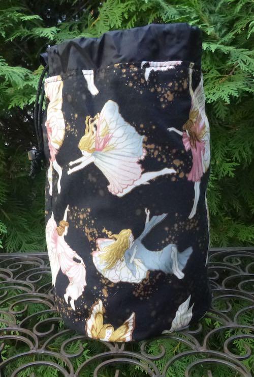 Midnight Fairies SueBee Round Drawstring Bag