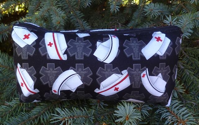 Nurses caps on black flat bottom bag, The Zini