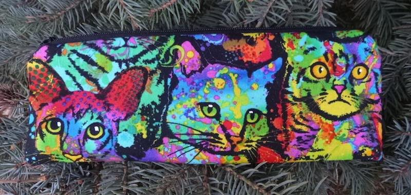 Painted Cats pen and pencil case, crochet hook pouch, The Scribe