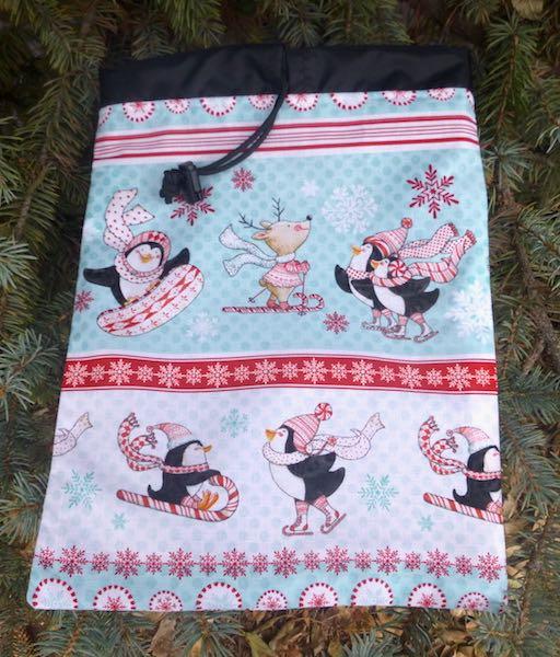 Peppermint Penguins Flatie Jr. a flat drawstring bag