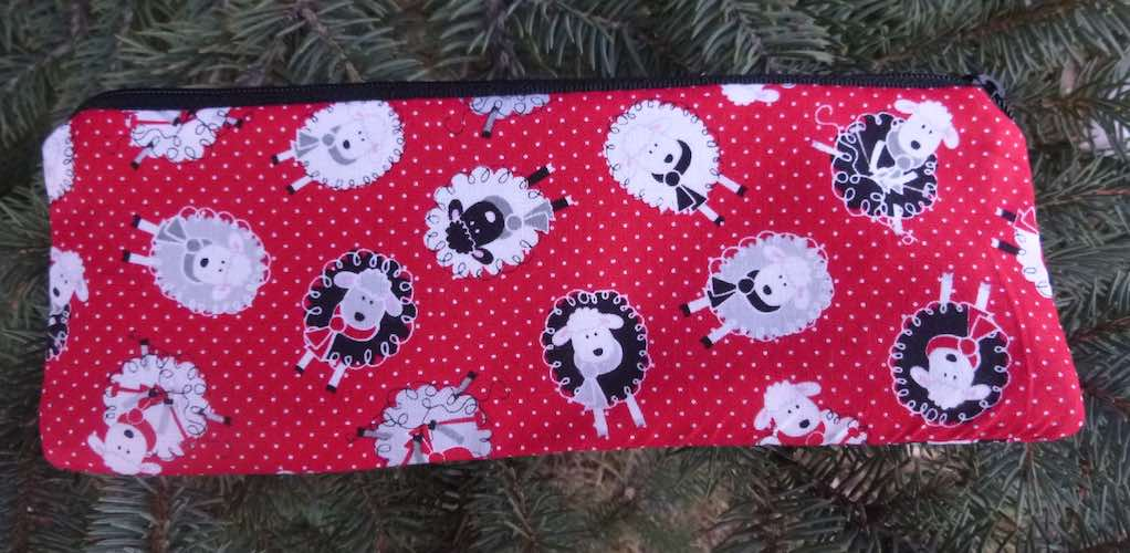 Pin Dot Sheep pen and pencil case, crochet hook pouch, The Scribe