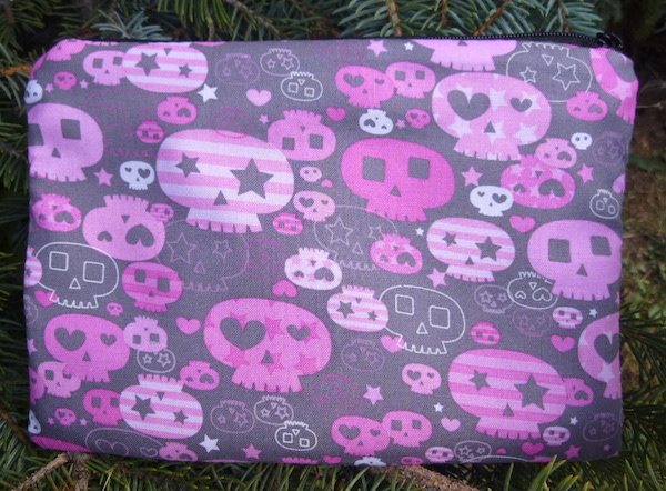 Pink and Gray Girly Skulls zippered bag, The Scooter