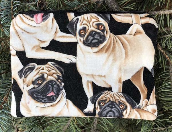 Pugs Goldie zippered bag
