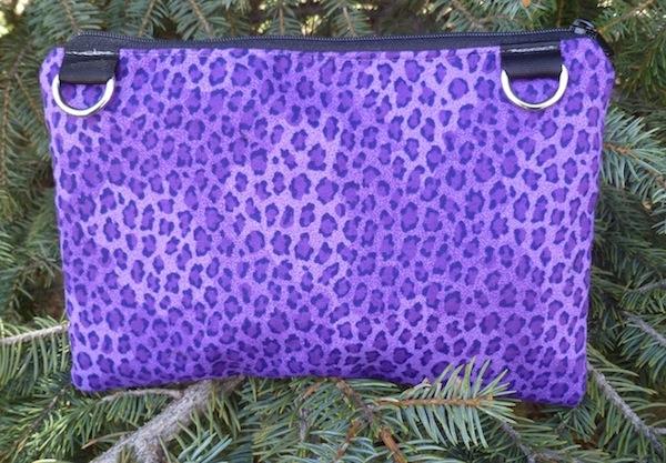Purple leopard spots clutch, iPhone 8 Plus, smart phone wallet, mini shoulder bag, The Wisteria