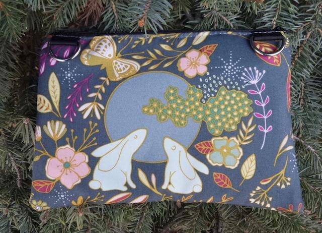 Moon Rabbit clutch, smart phone wallet, mini shoulder bag, iPhone 6 wallet, The Wisteria