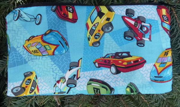 Race Cars on Blue Deep Scribe pen and pencil case