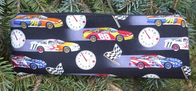 Race Cars pen and pencil case, crochet hook pouch, The Scribe