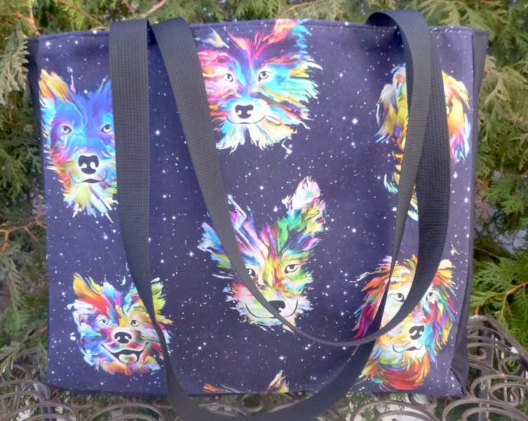 Rainbow Dogs Medium Fleur Tote, wide