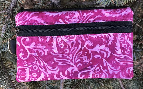 Raspberry Scroll Batik Mini Wallet Purse Organizer, iPhone wallet, The Sweet Pea