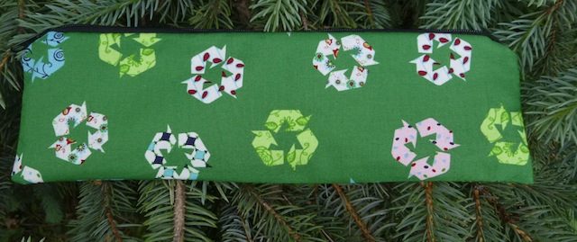 Recycle sign zippered pouch for chopsticks, knitting needles or crochet hooks, The Sleek