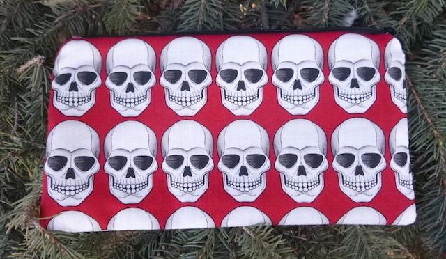 Robo Skulls Deep Scribe pen and pencil case, red or black