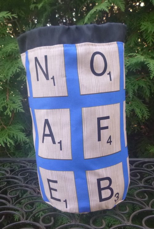 Scrabble Tiles SueBee Round Drawstring Bag