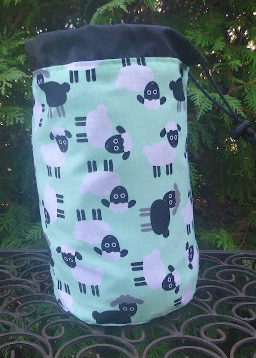 Sheep on Green SueBee Round Drawstring Bag