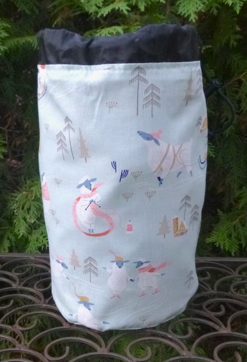 Sheep Snow Day SueBee Round Drawstring Bag