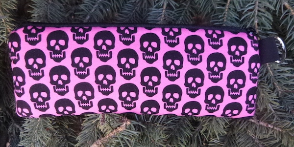 Skulls on Pink Padded Zippered Glasses Case, The Spex