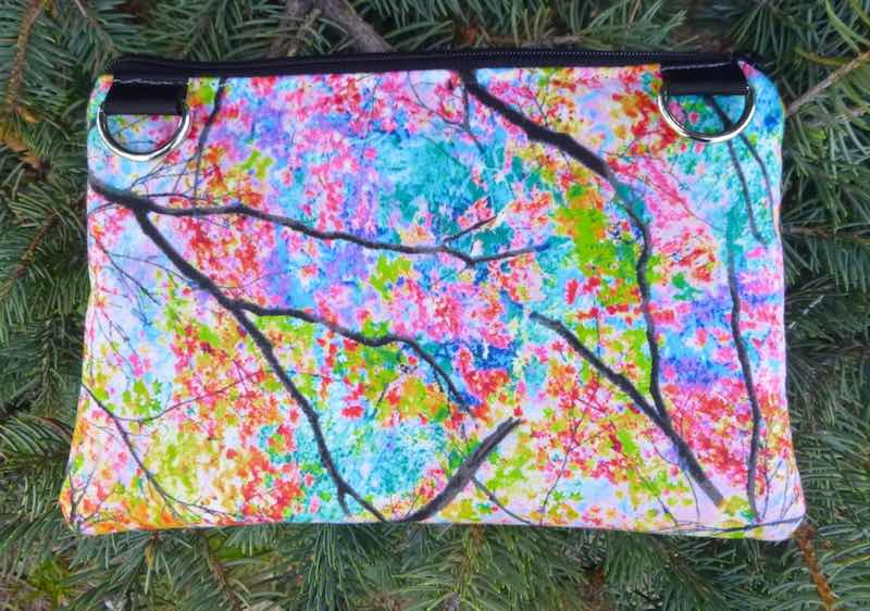 Spring Trees clutch, smart phone wallet, mini shoulder bag, iPhone 6 wallet, The Wisteria