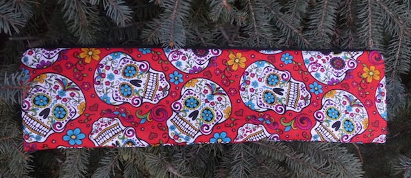 Sugar Skulls on Red Long Knitting Needle Pouch, The Stitch