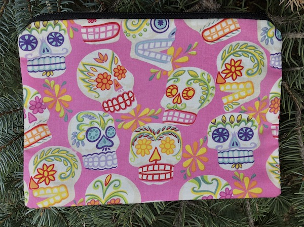 Sugar Skulls on pink zippered bag, The Scooter