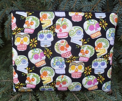 Sugar skulls padded case for small tablets and e-readers, The Elm