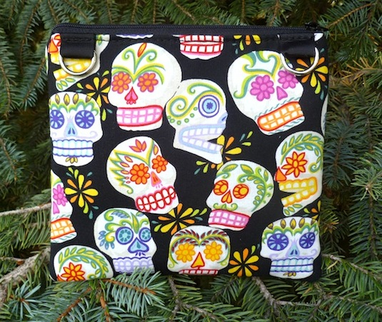 Sugar Skulls Convertible clutch, wristlet or shoulder bag, The Squirrel,