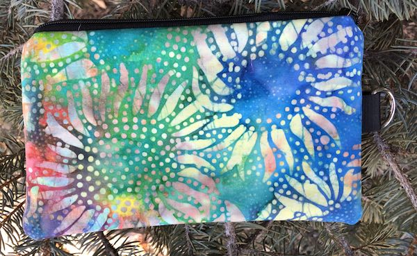 Sunflower Batik Mini Wallet Purse Organizer, iPhone wallet, The Sweet Pea