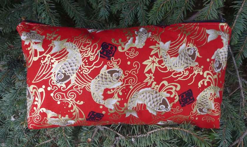 Japanese koi on red, the large Zini flat bottom bag